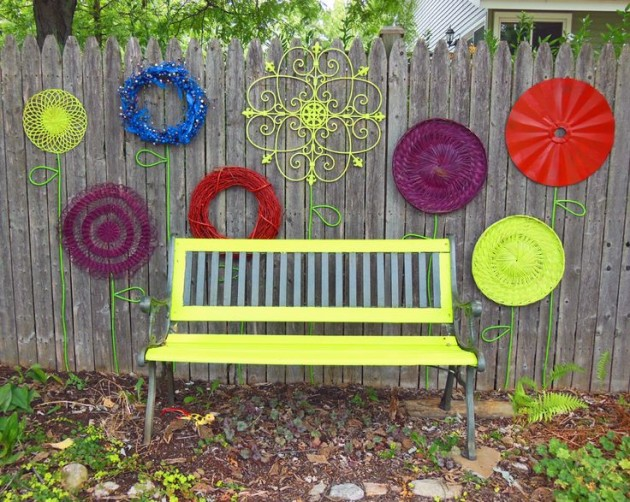 yellow garden bench 2