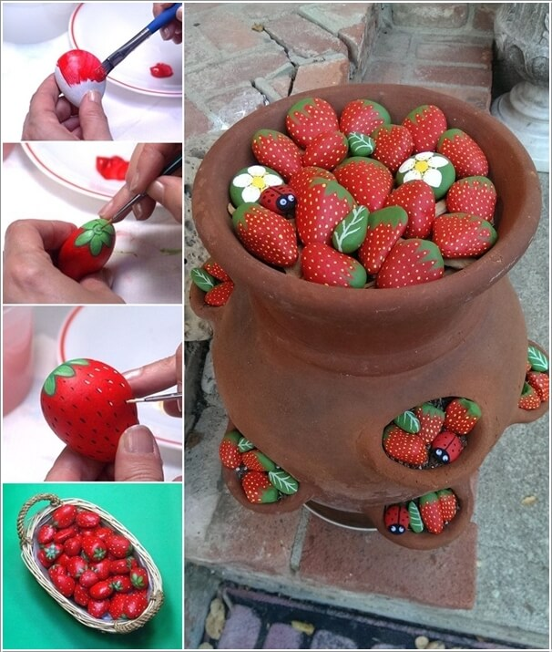 Painted-Stone-Crafts-strawberries