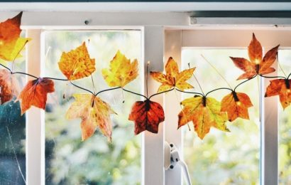 DIY Autumn Decor with Fall Leaves and Fairy Lights