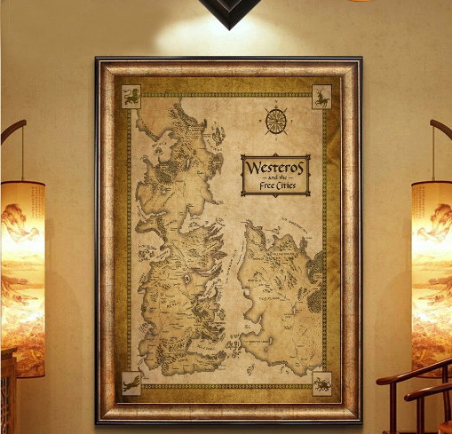 Game of Thrones Poster Westeros Map on Silk Fabric Under $10