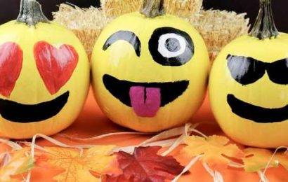 24 Emoji Pumpkin Carving and Painting Ideas That'll Make Your Porch Halloween-Ready