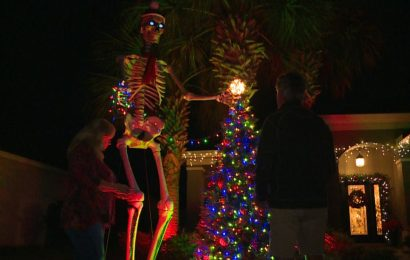 Halloween and Christmas collide with unique decoration display